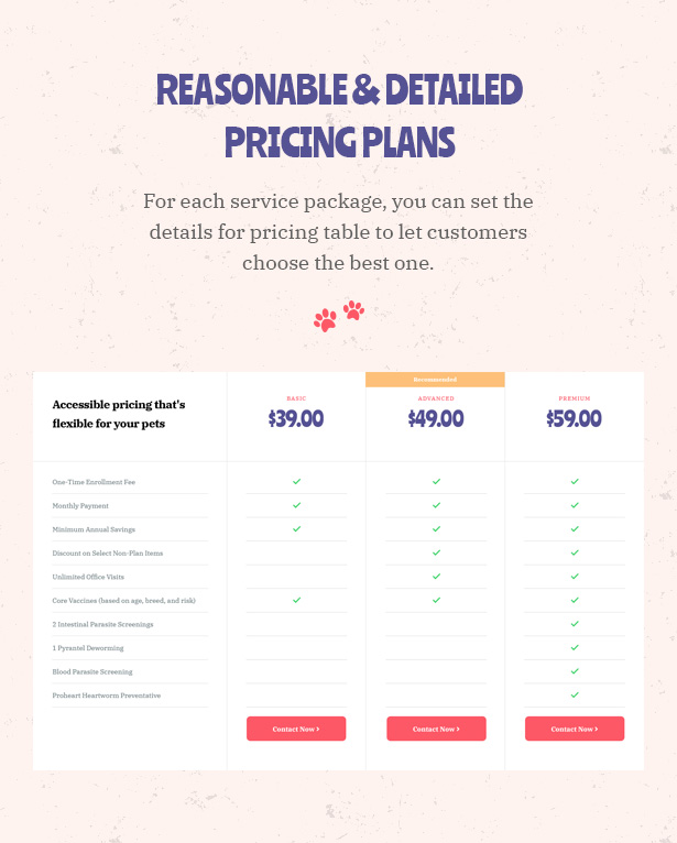 Petie - Pet Care Center & Veterinary WordPress Theme Pricing Plans