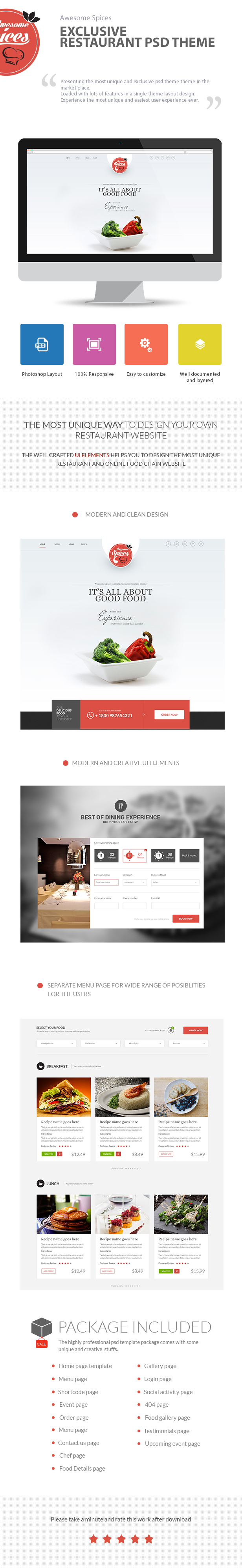 Awesome Spice-One Page Restaurant Theme - 2