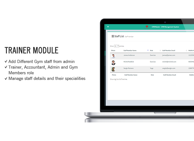 staff listing in Gym Management System