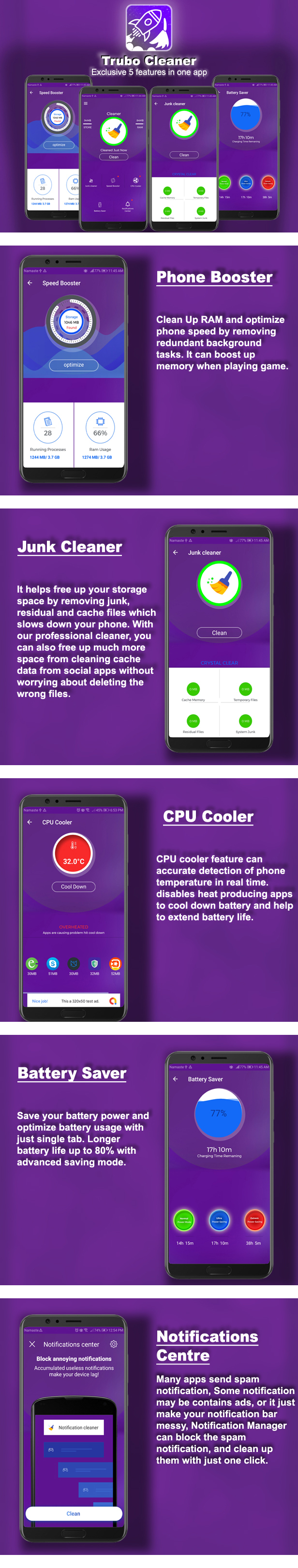 Android Turbo Cleaner - Booster, Cleaner, Battery Saver & Notification Manager - 4