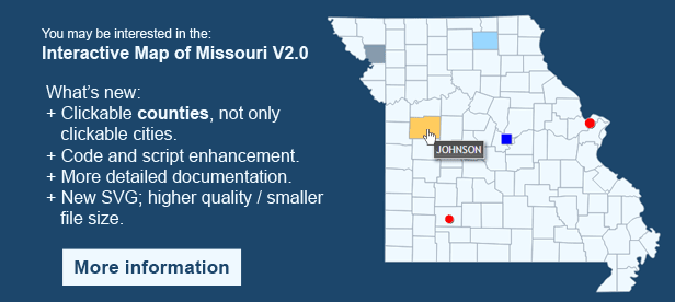 Interactive Map of Missouri - Clickable Counties