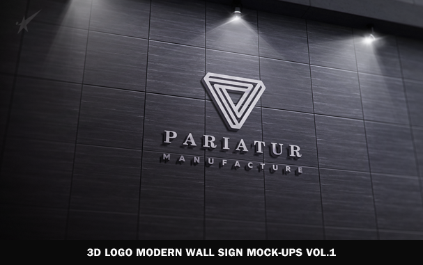 3D Logo Modern Wall Sign Mock-Ups Vol.2 - 7