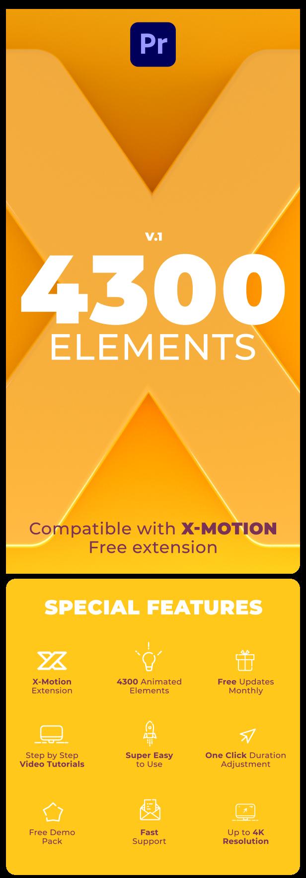 中文汉化PR脚本-4300个丰富多彩创意独特场景信息图形线条动画扩展工具包 X-Motion-v1.4 for Win/Mac破解版插图2