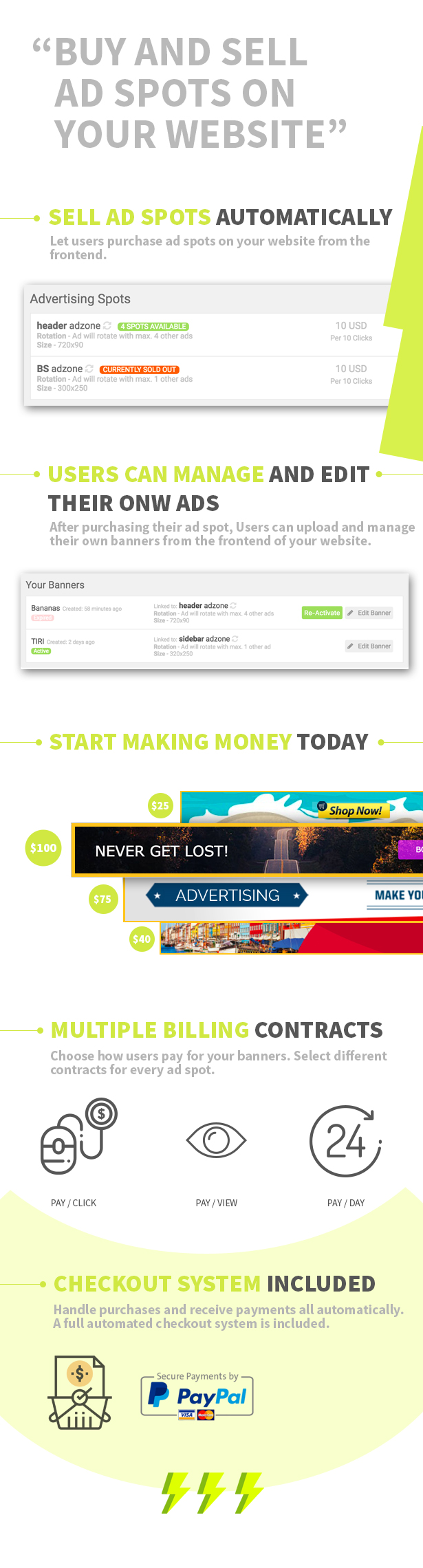 Buy and Sell advertisements on your wordpress website