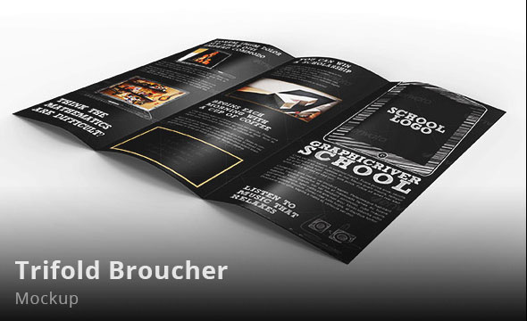 Photorealistic Open Trifold Broucher Mockup