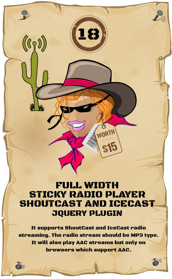Sticky Radio Player Responsive Plugin - Full Width Shoutcast and Icecast HTML5 Player