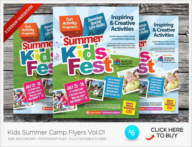 Kids Summer Camp Flyer Templates By Kinzishots GraphicRiver - Fun brochure templates