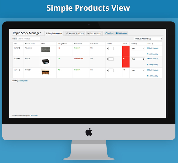 Simple products - Rapid Stock Manager - update simple and variants stock in seconds and manage Stock Audit