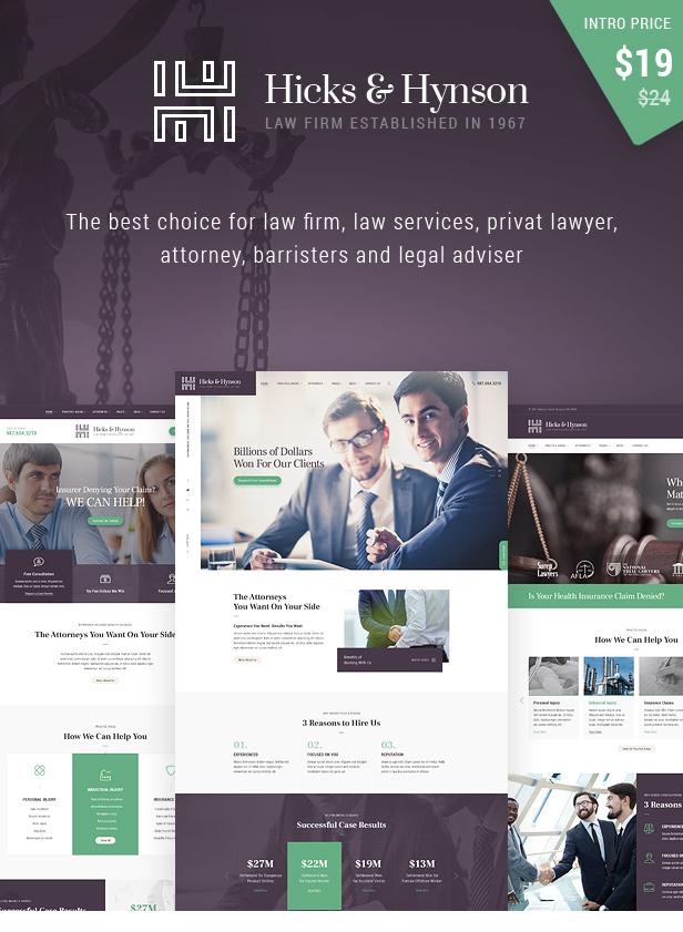 Hicks & Hynson - Law Firm HTML Template - 1