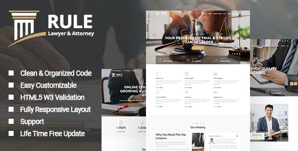 Rule - Lawyer & Attorney HTML Template