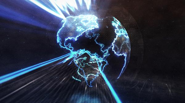 AE模板 能量闪电科技地球logo动画