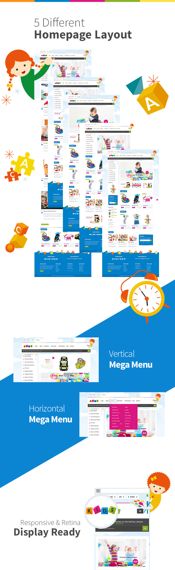 kalista kids toys store responsive site template by template world