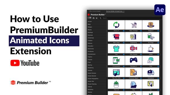 AE脚本-PremiumBuilder Animated Icons 1000个电子商务社交媒体扁平化金融建筑教育医疗儿童表情符号图标动画大合集更新 V3插图4