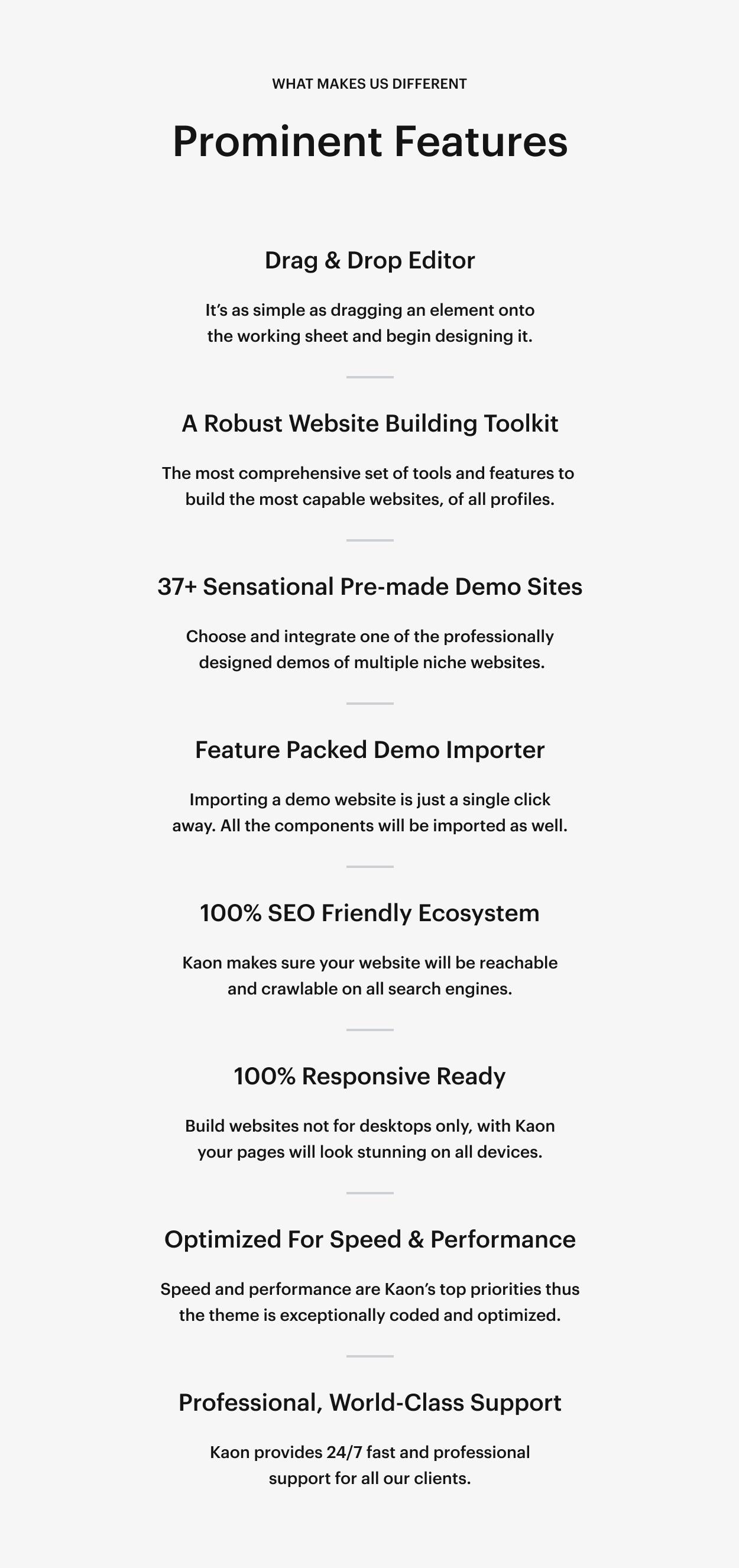 Kaon WordPress Theme - Features