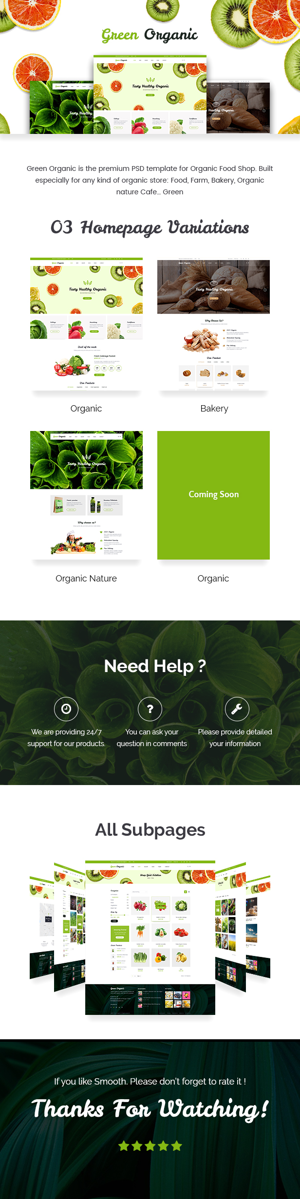 Green Organic - Organic Store & Bakery PSD Templates - 1