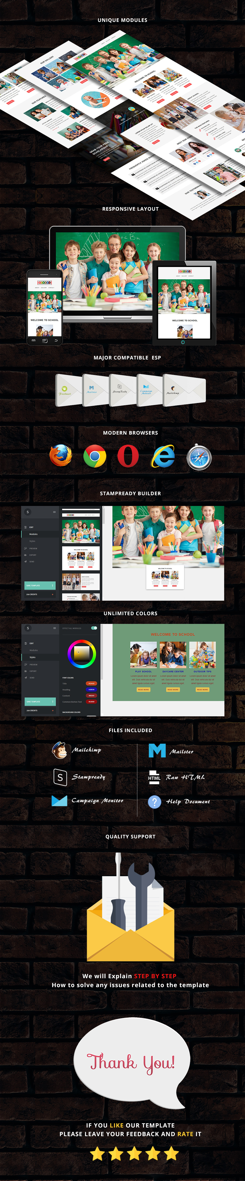 School - Responsive Email Template + Stampready Builder