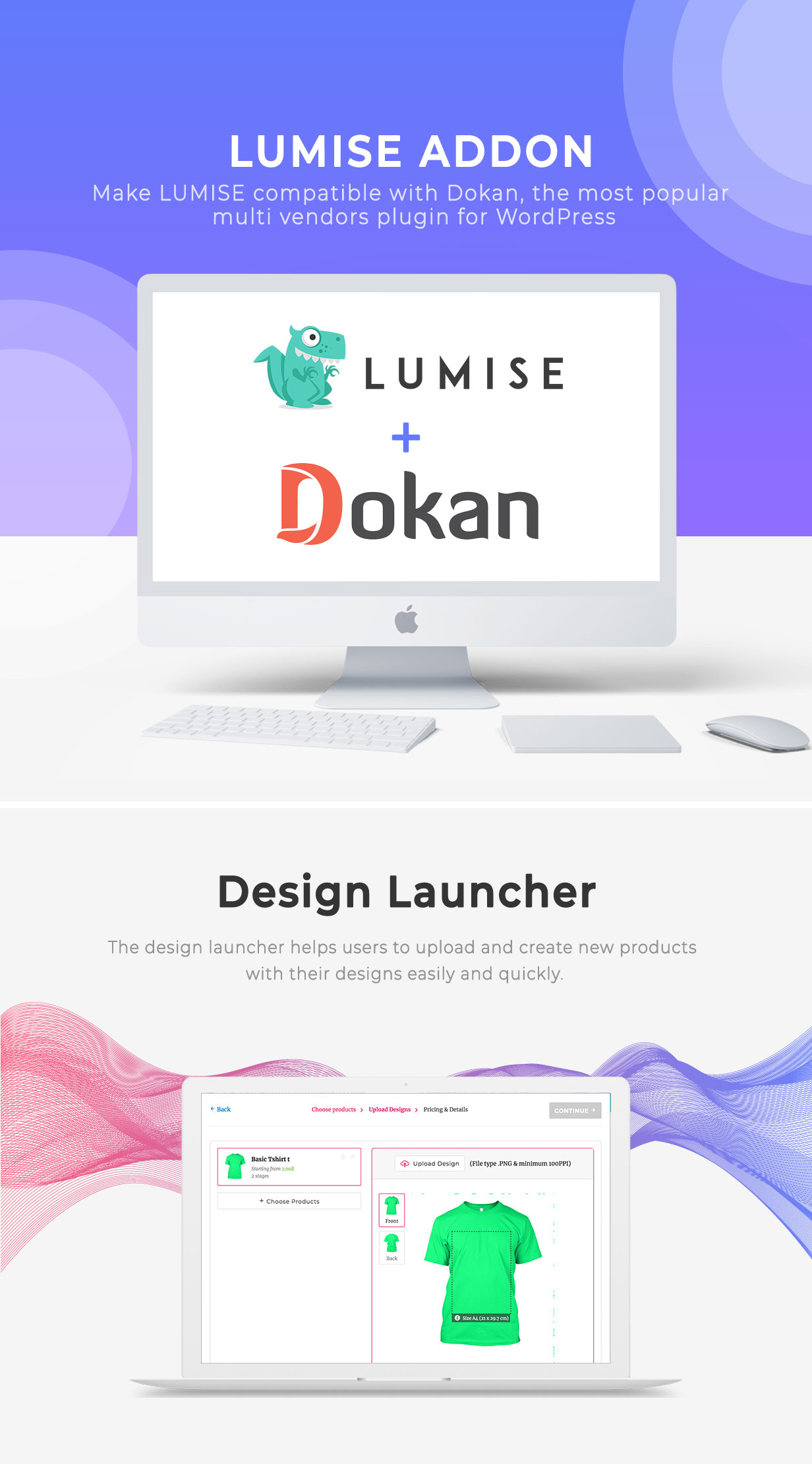 Vendors & Design Launcher Addon for LUMISE Product Designer - 2
