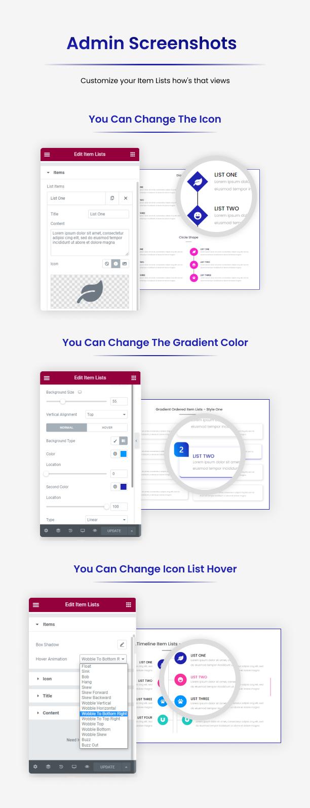 Item Lists Pro for Elementor Admin Screenshots