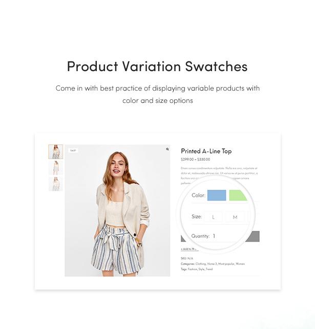 best fashion woocommerce wordpress themes 2018 - product variation swatches