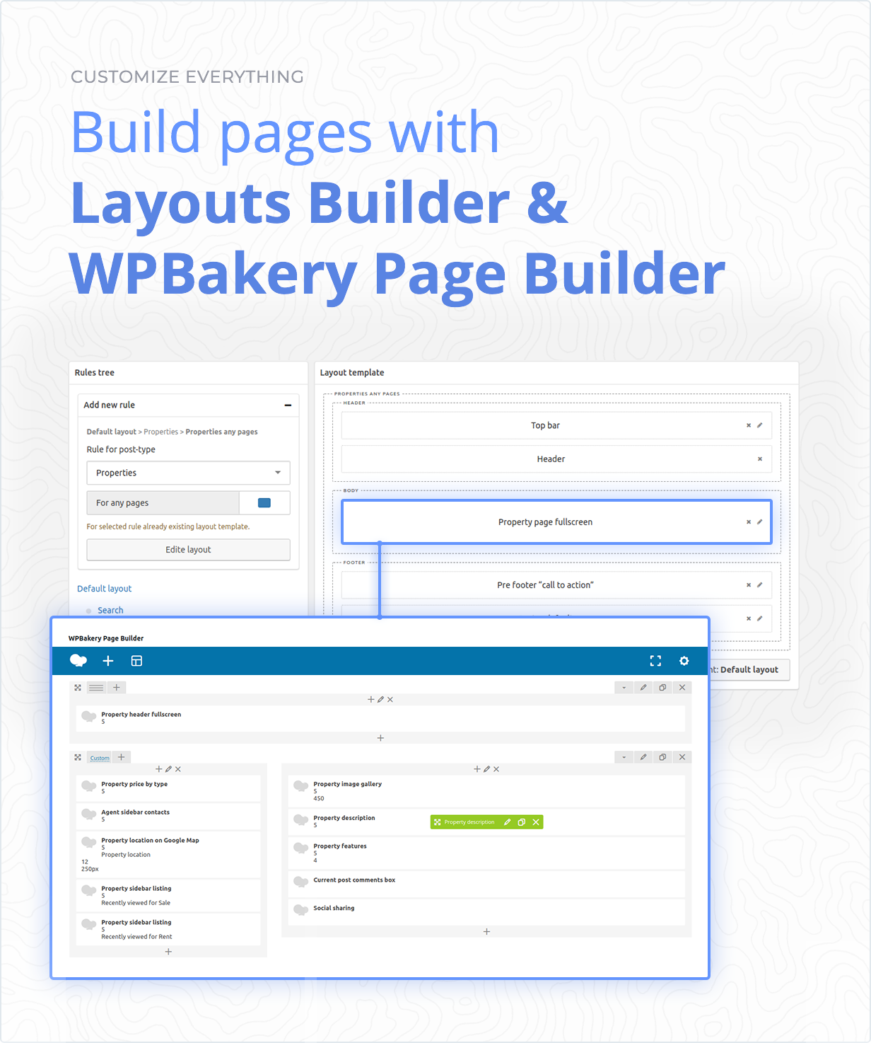 Build pages with Layouts Builder & WPbakery Page Builder with +60 unique addons