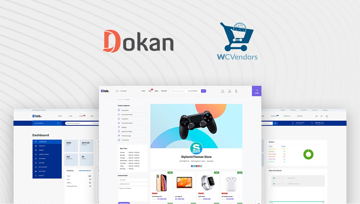 eLab Multi Vendor Marketplace WordPress Theme Completely Compatible with Dokan & WC Vendors