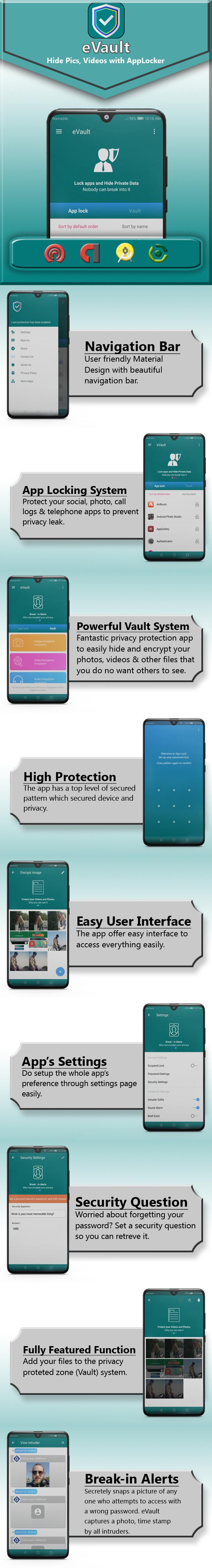 eVault - Hide Pics, Videos with AppLocker | Beautiful UI, Ads Slider, Admob, Push Notification - 6