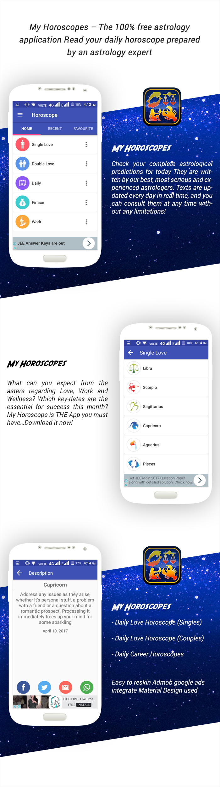 Horoscope with Material Design