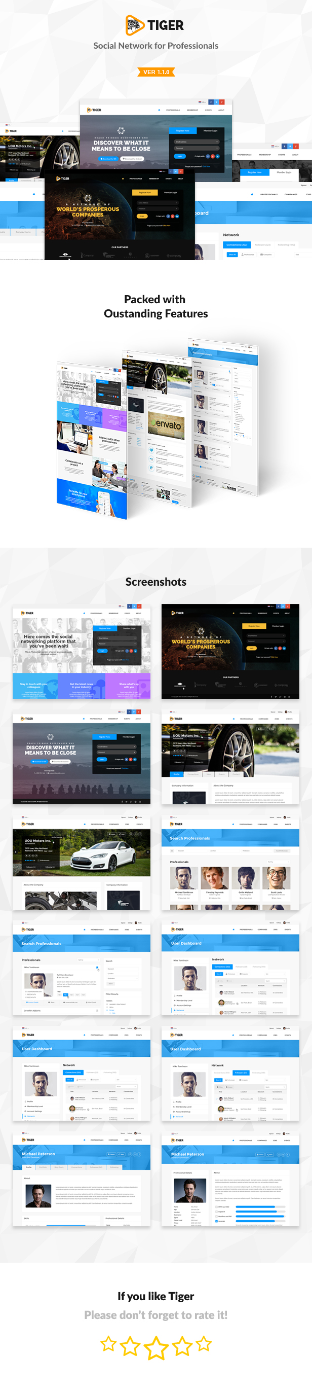 Tiger Social Network Theme For Companies Professionals By