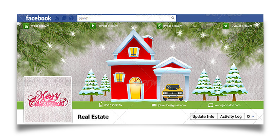 Christmas Real Estate Twitter Cover - 1
