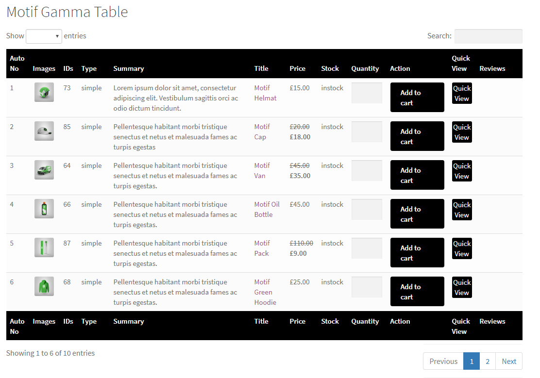 woocommerce product tables