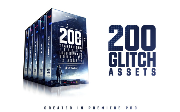 Ultimate Glitch Pack: Transitions, Titles, Logo Reveals, Sound FX - 1