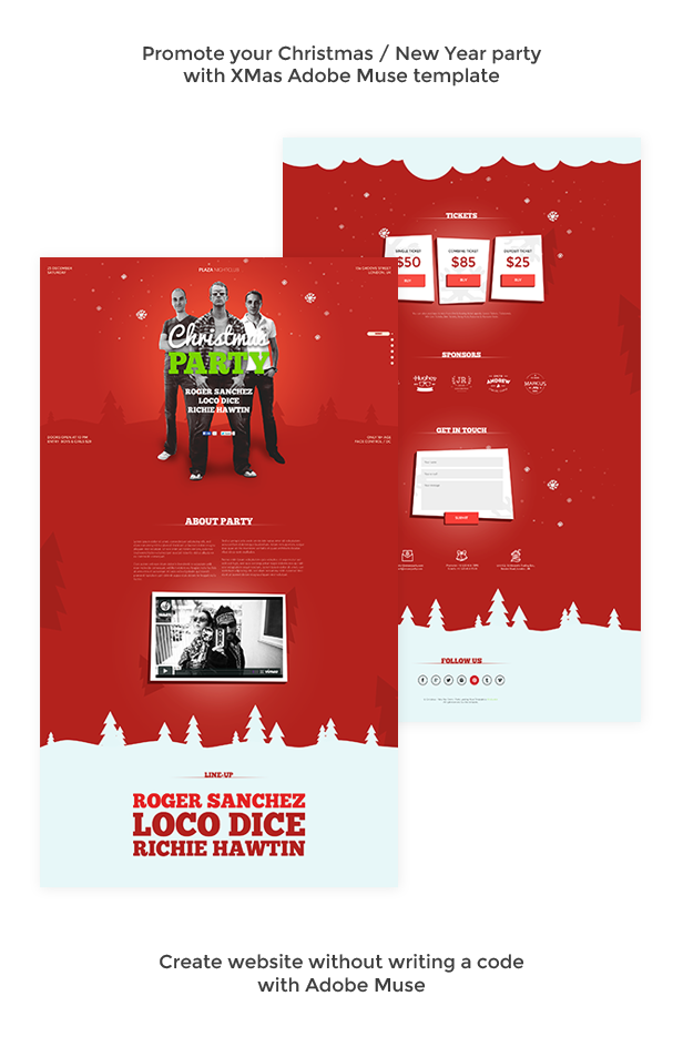 xmas christmas new year party muse template