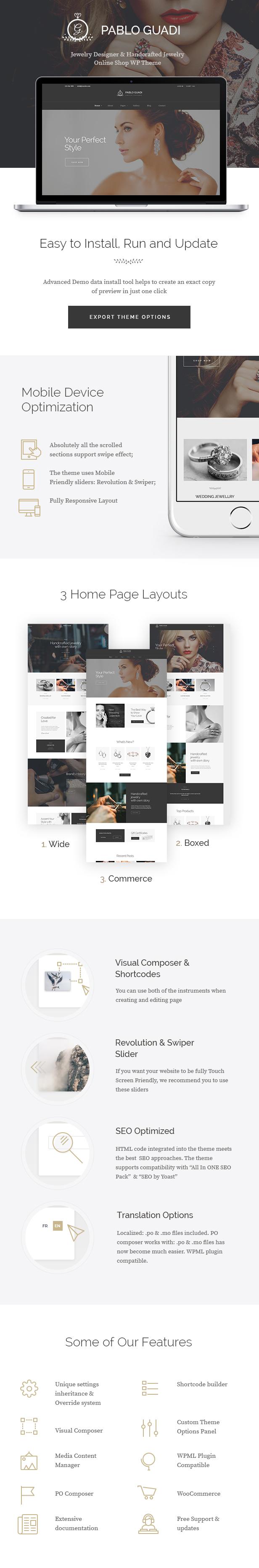 Pablo Guadi - Precious Stones Designer & Handcrafted Jewelry Online Shop WordPress Theme - 1