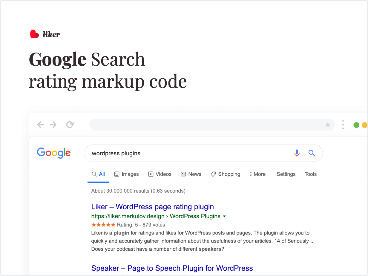 Google Search rating markup code