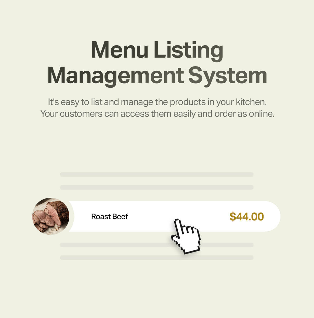 Food menu listing