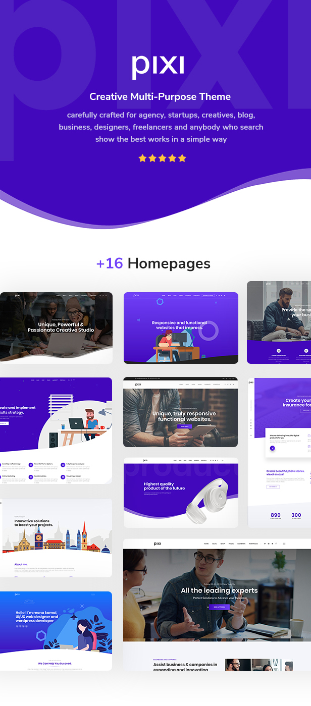 Pixi Creative Multi-Purpose WordPress Theme