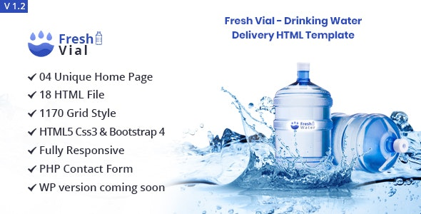 Fresh Vial - Drinking Mineral Water Delivery Bootstrap4 HTML5 Template