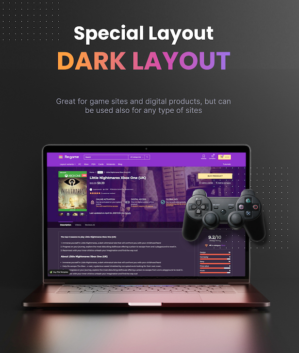 dark layout theme woocommerce