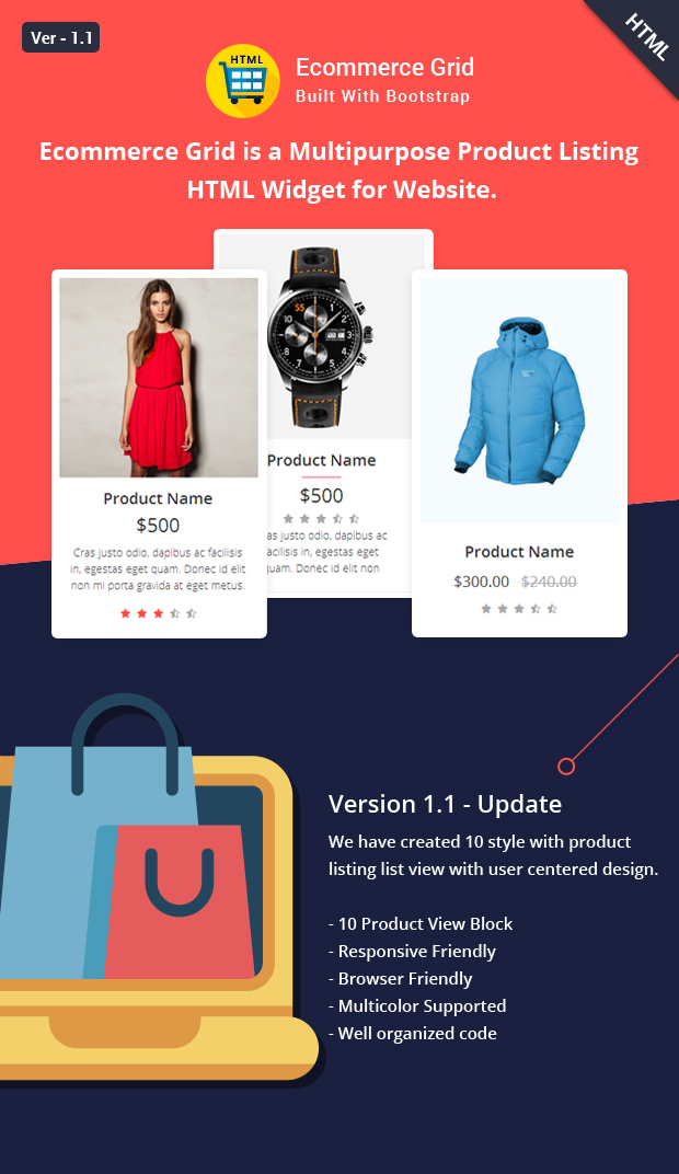 Introduction Ecommerce Grid is a Multipurpose Product Showcase HTML Widget