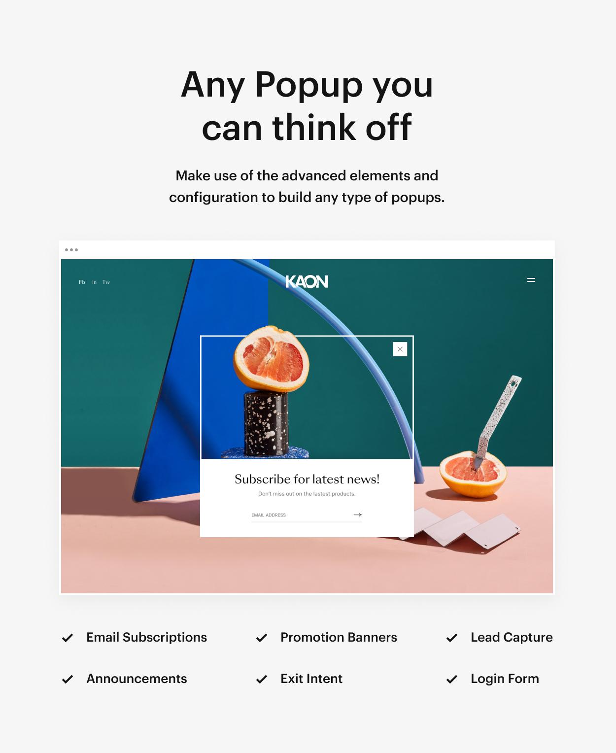 Kaon WordPress Theme - Popup Types