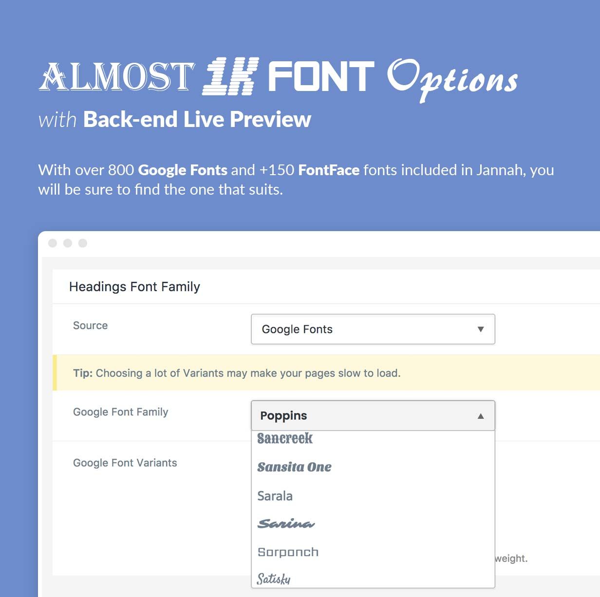 800 Google Fonts and +150 FontFace fonts