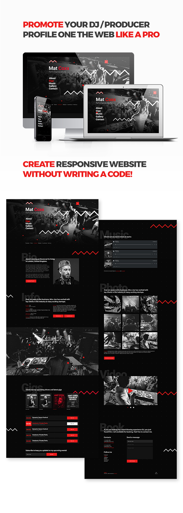 cueplay dj producer music band responsive website muse template by vinyljunkie. Black Bedroom Furniture Sets. Home Design Ideas