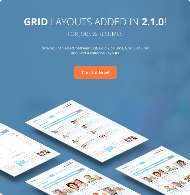 Grid layout added for Jobs/Resumes - Babysitter WordPress Theme Responsive