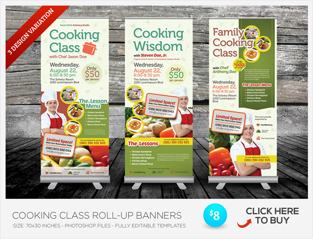 cooking class flyers by kinzi21 graphicriver. Black Bedroom Furniture Sets. Home Design Ideas