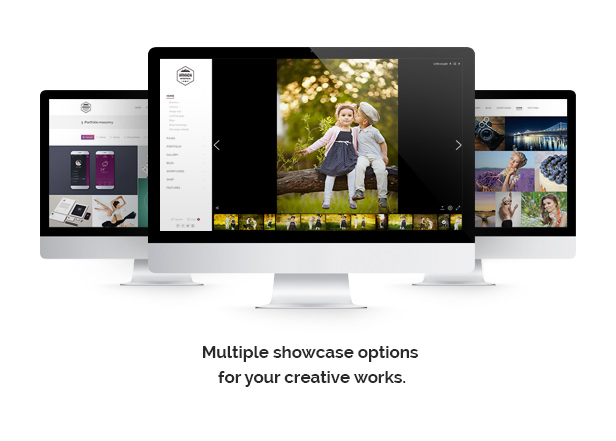 Multiple showcase options for your creative works.