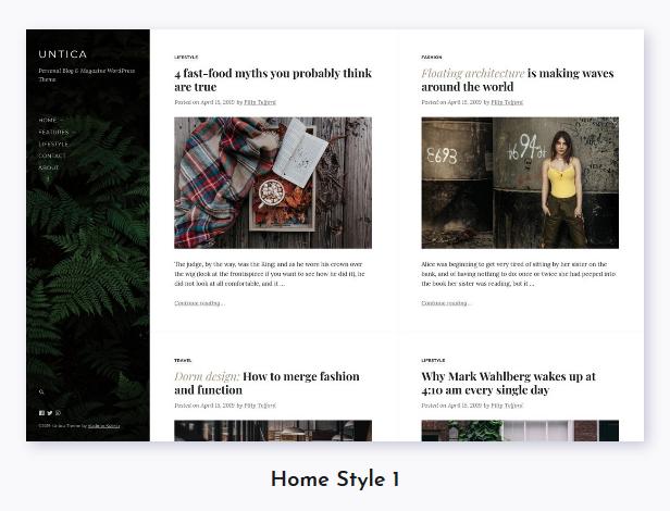 Untica - Personal Blog & Magazine WordPress Theme - 1