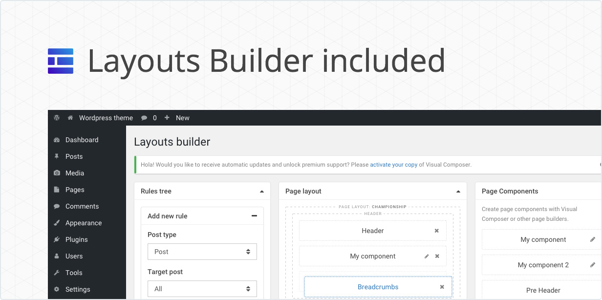 Layouts Builder included