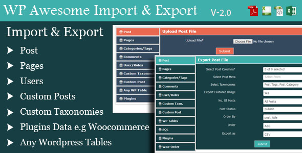 Wordpress Awesome Import & Export Plugin - CodeCanyon Item for Sale