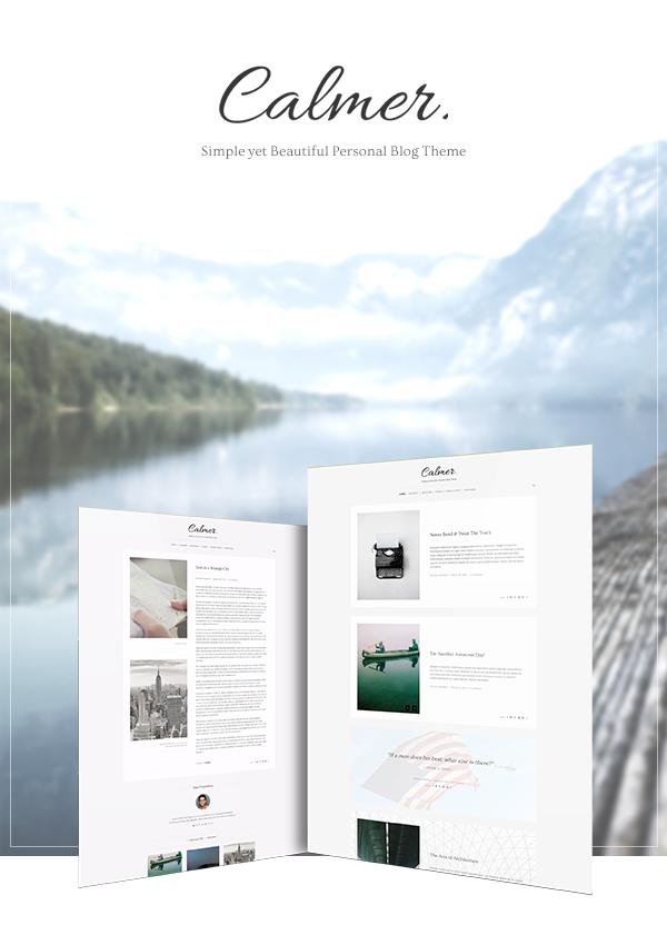 Calmer WordPress Blog Theme Presentation Cover