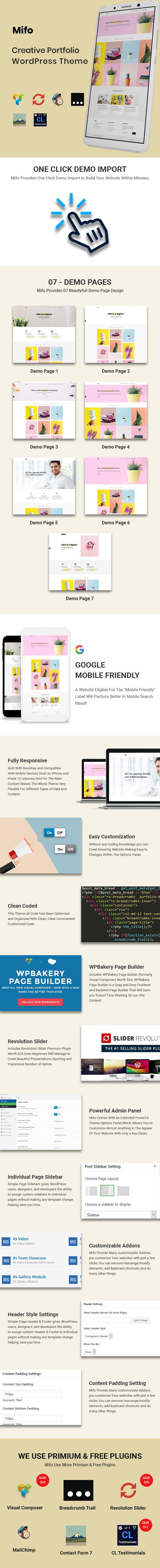 Mifo - Creative Minimal Portfolio WordPress Theme